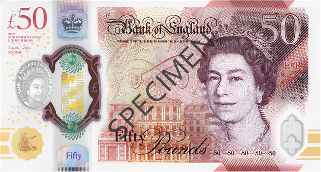 The front of a specimen copy of the new £50 note