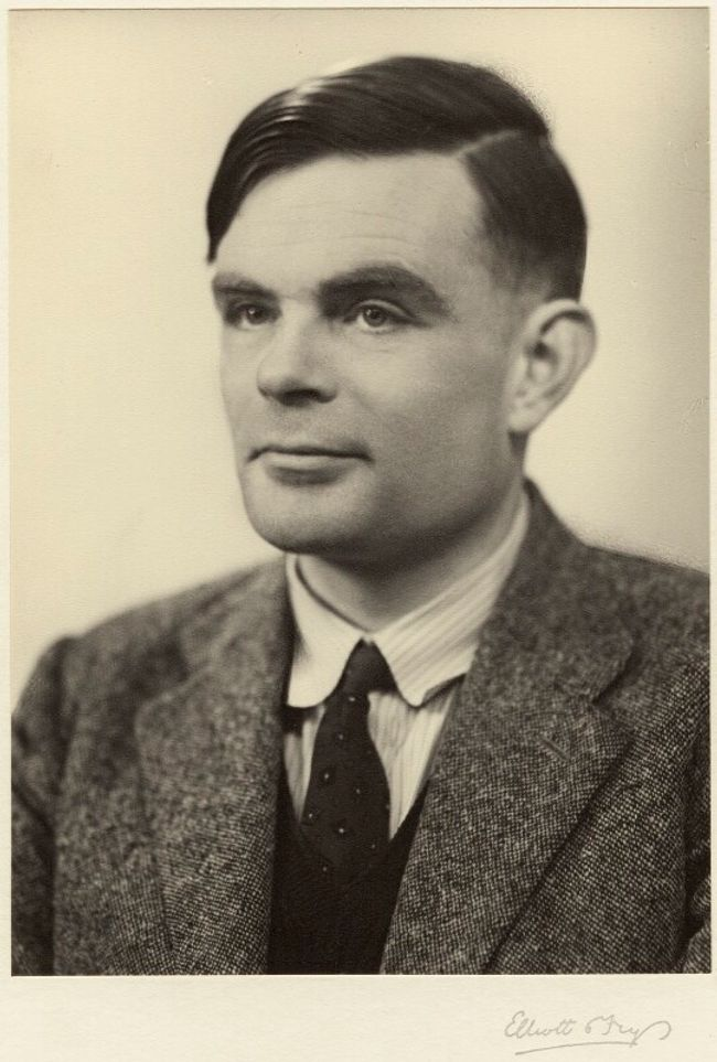 Sepia coloured bromide print portrait of Alan Turing taken on 29 March 1951