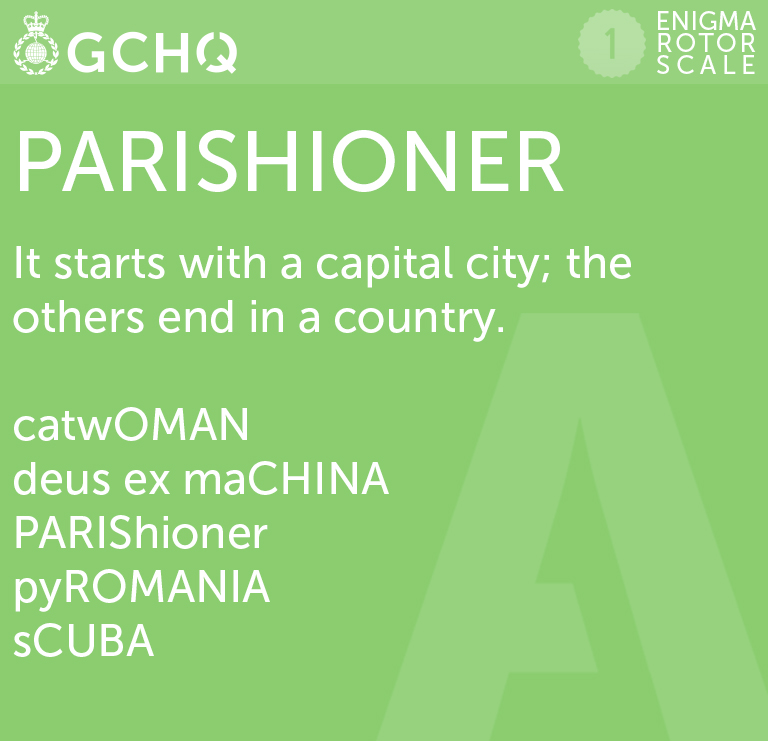 Parishioner. It starts with a capital city. The others end in a country