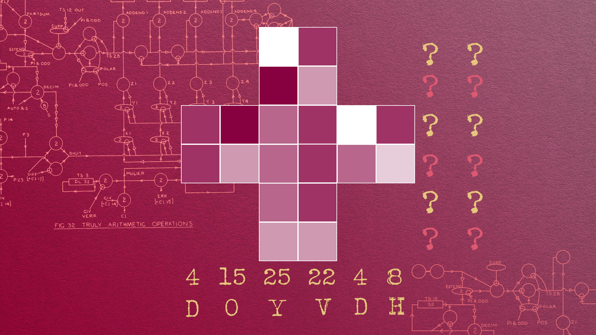 on a righ red background is one of Turing's diagrams. Overlaid is a cross made up of 24 small boxes, in 6 shades of pink. Along the right had edge there are two question marks at the end of each line of boxes in the cross. Along the bottom of the cross are two rows, one of numbers reading 4 15 25 22 4 8 and directly underneath are letters reading D O Y V D H