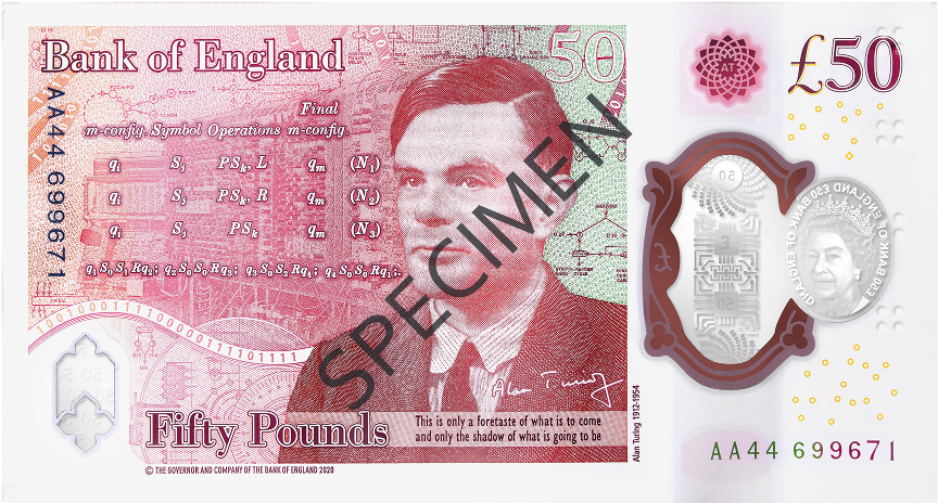 the reverse of a specimen copy of the new £50 note